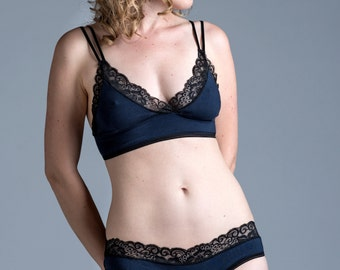 Organic Cotton Panties - Navy and Black 'Alyssa' Style Underwear - Lingerie Custom Fit Made To Order