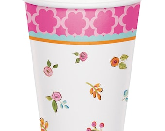 Tea Time Paper Cups [8ct] Birthday Tea Party Tableware Supplies