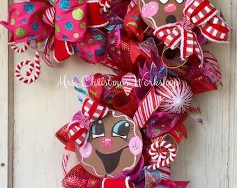 Christmas wreath, candy cane wreath, gingerbread wreath, deco mesh wreath, candy wreath