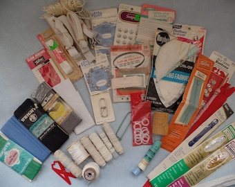 Destash Vintage Sewing Notions, Plastic Thimbles w Ads, Large Lot Bindings Zippers Snaps Elastic Bindings Piping, Buckles & Buttons to Cover