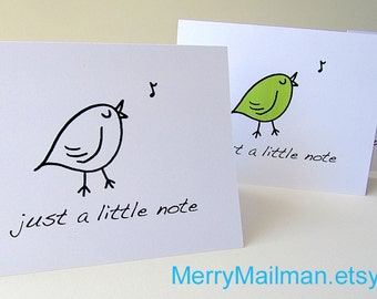 Note Card. Printable. Little Bird.  blank A2 card. black and white. green. blue. color it yourself.  Sweet Little Bird Note Card.