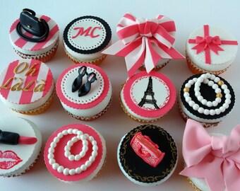 Edible Cupcake topper Paris Fashion Theme, purses, necklaces, makeup, bows