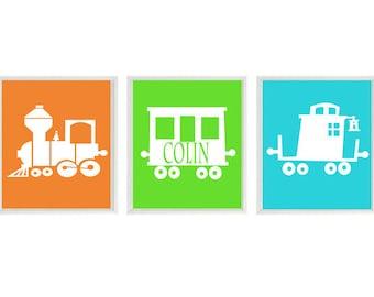 Train Art Print - Boy Nursery Art - Personalize Name -  Decor - Choo Choo Railroad Transportation Wall Art Home Decor