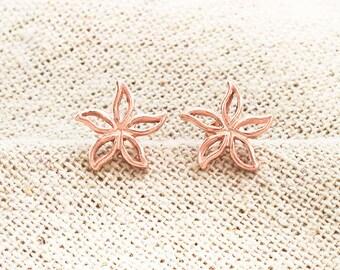 1 Pair of 925 Sterling Silver Rose Gold Vermeil Style flower Stud Earrings 10 mm.  :pg0647