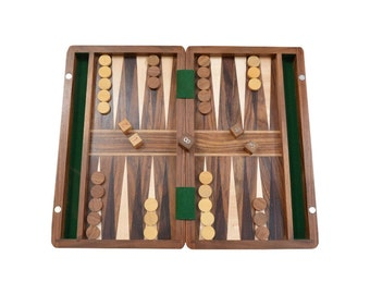 "Backgammon Set in Sheesham and Box wood with Board,Dice & Stones - 10"" SKU: BG202"