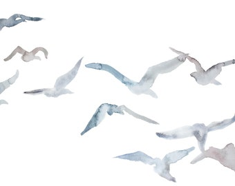 winter geese no. 2 . giclee fine art print of watercolor