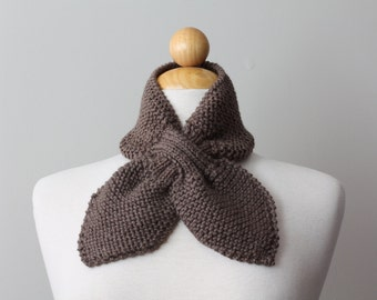 Ascot Bow Scarflette Knitted -TAUPE
