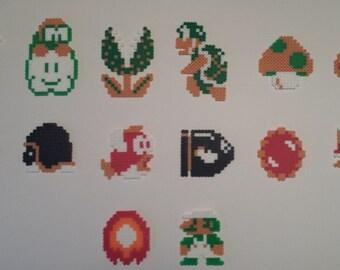 8 bit NES Super Mario Brothers Medium Perler Sprite Set:  Magnets and Coasters