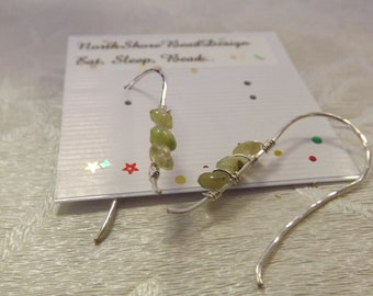 Green Garnet rondelle bead sterling silver wire wrapped hammered earrings