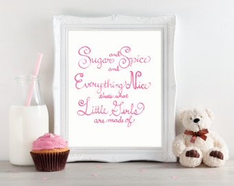 Pink Calligraphy Baby Girl Nursery Decor, Nursery Rhyme Baby Shower Gift, Pink Nursery Art