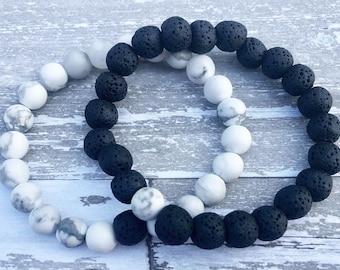 White Howlite Black Lava Stone Diffuser Bracelet | Diffuser Bracelet | Diffuser | Bracelets | Aromatherapy | Essential Oils | Jewelry