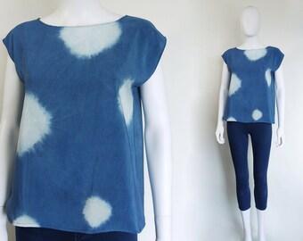 Indigo Silk Top.  Shibori Tie-dye natural indigo on silk