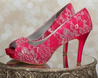 Lace Platform Shoes - Lace Wedding Shoes - Red Lace Shoes - Lace Shoes - Red Wedding - Choose From Over 200 Colors - Lace - Parisxox