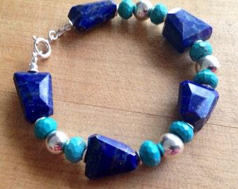 Lapis and Turquoise Bracelet - Lapis Jewelry - Sterling Silver Jewelry - Lapis Lazuli Gemstone Jewellery - Beaded - Chunky - Blue
