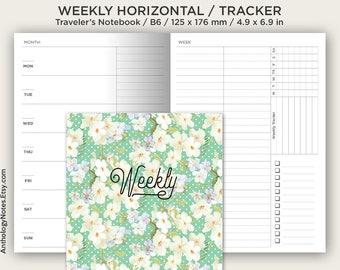 B6 Weekly Horizontal  Weekly Tracker / Traveler's Notebook Printables / Functional Undated Minimalist Clean