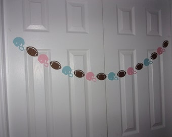 Gender Reveal Football Garland - Baby Blue Light Pink Cardstock Paper Baby Shower Banner Girl Boy Wall Door Mantel Decor long or short