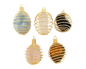 Tumbled Stone - Wire Cage - Cage Only - Gold Toned Wire Tumbled Stone Cage (RK85B10)