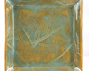 Hand Made Stoneware Pottery Tray Square Impressed Leaf Design Green Turquoise