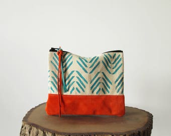 Geometric print clutch bag, Cosmetic bag, Ethnic clutch, Aztec, Teal blue, Orange