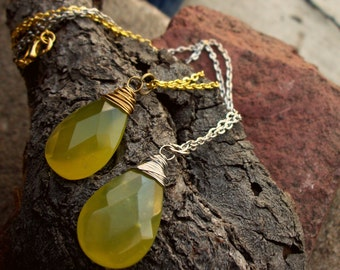Wire Wrapped Green Jade Flat Faceted Briolette Necklace in Silver or Gold