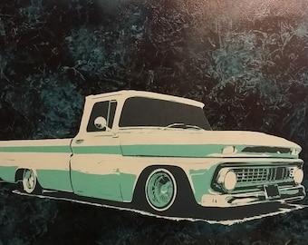 Lowrider Vintage Truck Wall Art, Man Cave Wall Art, Garage Art, Lowrider Art, Gift For Him, C10 Painting, Graffiti Art