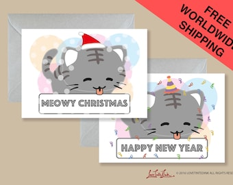 Cat Meowy Christmas New Year Card, Christmas New Year Greeting Card, Cute Cat Card, Merry Christmas Card, Cat Lover, Party Card, Animal Card