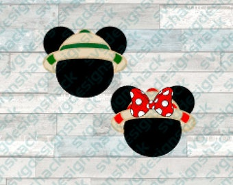 Safari Mickey and Minnie Mouse Heads SVG, DXF, EPS, Studio 3, Png