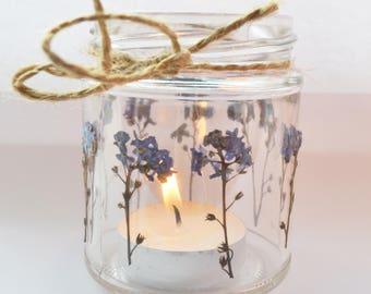 Forget me knot mason jar, forget me knot candle holder, wedding jar, flower lantern, wedding tea light, flower mason jar, small mason jar