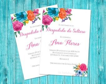 Mexican inspired bridal shower invitation, printable. Invitación despedida de soltera para imprimir. Fiesta mexicana. Despedida de soltera.