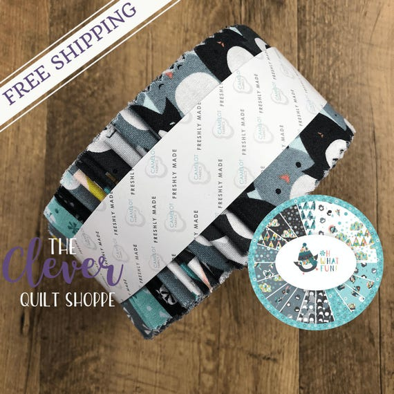 Jelly Roll Strips, Oh What Fun!, Camelot, Penguins, Winter, Snowflakes, Clouds, Modern, Kids, Nursery, Trees, Whimsical, Dream, Blue, Black