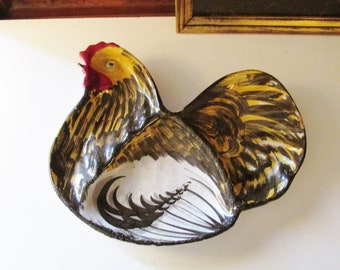 Vintage Italian Rooster Tray, Hand Painted Pottery Rooster Snack Tray, Farmhouse Chic, Serving Tray