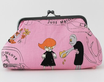 Pink love zombie print clutch with feet