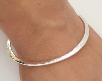 Triangular Bangle, Silver Bangle, Hammered Bangle