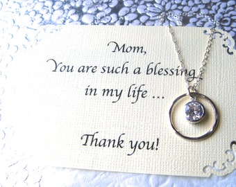 MOTHER of the Bride Gift Necklace - CUBIC ZIRCONIA Set in Sterling Silver 2 Poem's to Choose From Mother Jewelry - Gift Wrapped!!