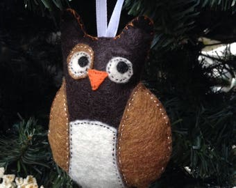 Owl, brown hand-sewn felt ornament
