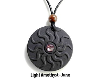 QP11 Dalimara Sun Quantum Pendant with Light Amethyst June Swarovs Crystal
