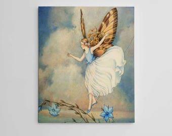Blue Fairy Wall Art, Flower Fairies, Beautiful Fairy Art, Fairy Art Print, Fairy Artwork, Fairy Wall Decor