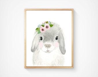 Watercolor bunny in grey tones, Woodland nursery, Animal Paintings, fox, Bear, Deer, watercolor animal, nursery prints, woodland animals