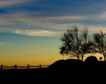 Blue Ridge Parkway, Doughton Park, National Park Tree, Rock  and Split Rail Fence Silhouette