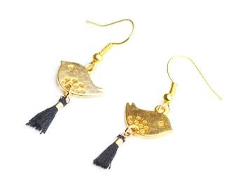 Gold bird earrings and gift idea black tassels