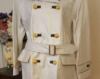 Vintage 1970's  leather white metallic nautical double-breasted coat size 6/Leather coat/Spring coat/White leather coat