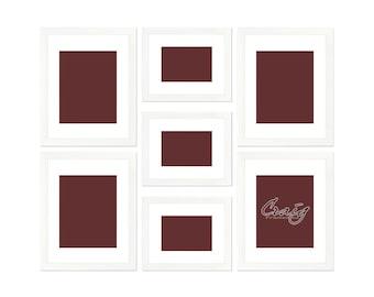 Craig Frames, 7 Piece White Picture Frame Set, White Display Mats (622FSET01S07Z)