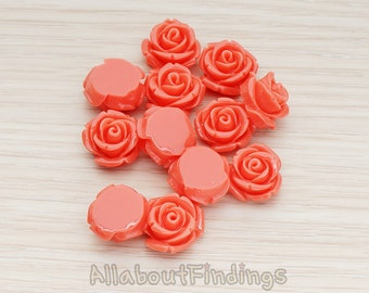 CBC141-01-DC // Deep Coral Colored Curved Petal Rose Flower Flat Back Cabochon, 6 Pc