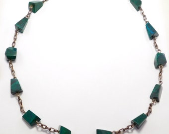 Modernist Azurite And Silver Necklace Mid Century