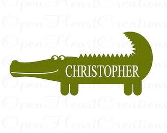 Alligator Wall Decal with Kids Name - Monogram Baby Nursery Wal Decor with Animal Theme 16H x 36W FN0317