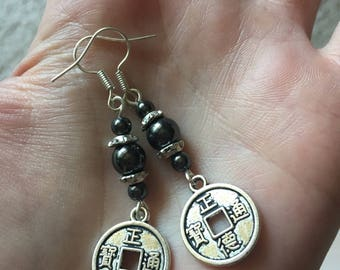 Chinese Prayer Coin Earrings, Prayer Coin Earrings, Silver Coin Earrings, Coin Jewelry, Antiqued Silver Coin Charms, Hematite Earrings