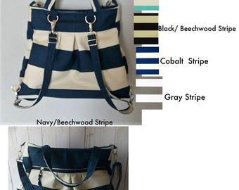 Choose your color Stripe backpack bag, Diaper Bag backpack, convertible bag, large tote bag