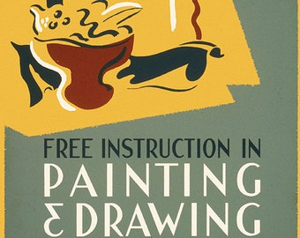Art lessons painting and drawing WPA Art Print ready for framing