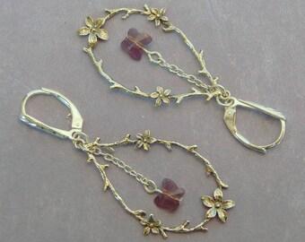 FREE SHIPPING! Twig/Flower Sterling Silver Earrings Swarovski Cyclamen Opal Crystal Butterfly, Nature-Inspired Pierced Earrings ME-495