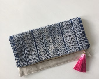Vintage Navy Blue Indigo Hmong Handblocked Tribal Batik Fold Over Clutch with Tassel Pull